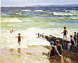 Edward Potthast Bathers by the Shore painting