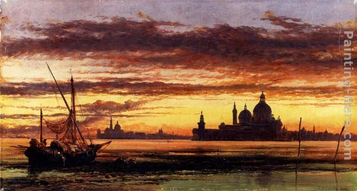 Edward William Cooke 'Sunset Sky, Salute And San Giorgio Maggiore'