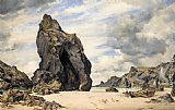 Edward William Cooke Steeple Rock, Kynance Cove, Lizard, Cornwall, Low Water painting