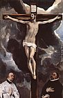 El Greco Christ on the Cross Adored by Donors painting