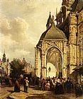 Elias Pieter van Bommel Figures At The Entrance Of The St. Stevens Church, Nijmegen painting