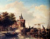 Elias Pieter van Bommel View Of The_Schreierstoren, Amsterdam, In Summer painting