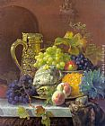 Eloise Harriet Stannard Fruits on a tray with a silver flagon on a marble ledge painting