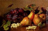 Eloise Harriet Stannard Still Life With Pears, Plums In A Glass BowlAnd White Currants On A Table painting