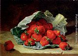Eloise Harriet Stannard Strawberries On A Cabbage Leaf painting