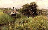 Emile Claus A Meeting on the Bridge painting