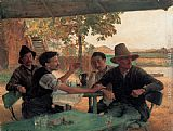 Emile Friant La Discussion politique painting