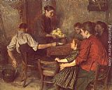 Emile Friant The Frugal Repast painting
