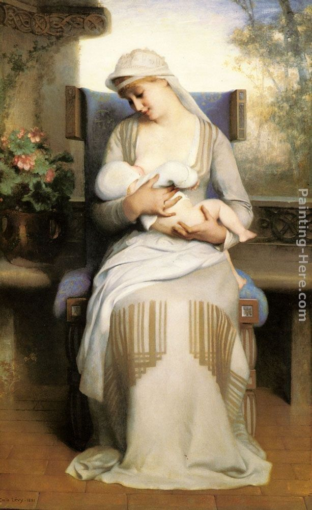Emile Levy Young Mother Feeding Her Baby