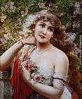 Emile Vernon Young Lady With Roses painting