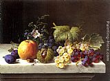 Emilie Preyer Grapes Plums Etc. On A Marble Ledge painting