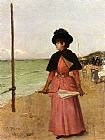 Ernest Ange Duez An Elegant Lady On The Beach painting