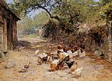 Ernst Walbourn Chickens in a Farmyard painting