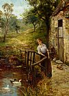 Ernst Walbourn Young Lady at the Mill Pond painting