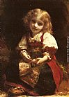Etienne Adolphe Piot A Little Girl Holding A Bird painting