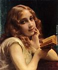 Etienne Adolphe Piot A Little Girl Reading painting