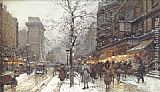 A Busy Boulavard Under Snow at Porte St. Martin, Paris