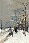 Eugene Galien-Laloue Figures in the Snow, Paris painting
