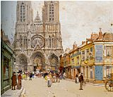 Eugene Galien-Laloue La Cathedrale de Reims painting