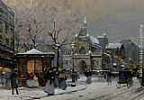 Eugene Galien-Laloue Leglise Saint Laurent Paris painting