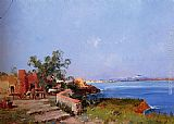 Eugene Galien-Laloue Lunch On A Terrace With A View Of The Bay Of Naples painting