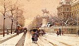 Eugene Galien-Laloue Paris in Winter painting