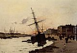 Eugene Galien-Laloue Ships in a Harbour painting