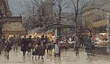 Eugene Galien-Laloue The Grands Boulevards, Paris painting