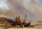 Eugene Isabey Riders on the Beach with Ship painting