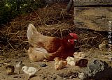 Eugene Remy Maes A Hen And Chickens painting