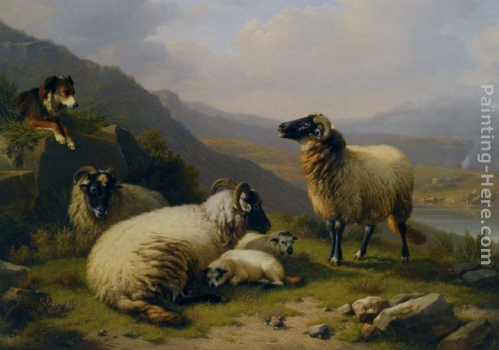 ... Paintings - Eugene Verboeckhoven Sheep dog guarding his flock Painting