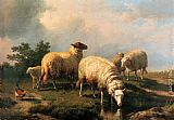 Eugene Verboeckhoven Sheep And A Chicken In A Landscape painting