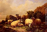 Eugene Verboeckhoven Sheep Grazing By The Coast painting