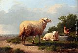 Eugene Verboeckhoven Sheep In A Meadow painting
