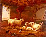 Eugene Verboeckhoven Sheep With Chickens And A Goat In A Barn painting