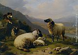 mad dogs Paintings - Sheep dog guarding his flock