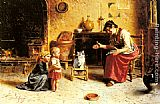 Eugenio Zampighi A Child's First Step painting