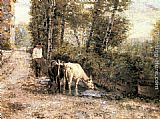 Eugenio Zampighi Cows Watering at a Quiet Pool painting