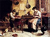 Eugenio Zampighi The Writing Lesson painting