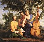 Eustache Le Sueur The Muses Melpomene, Erato and Polymnia painting