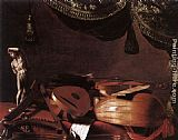 Evaristo Baschenis Still-Life with Musical Instruments and a Small Classical Statue painting