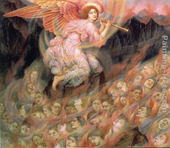 Evelyn de Morgan Angel Piping to the Souls in Hell