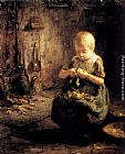 Evert Pieters A Child Peeling Potatoes painting
