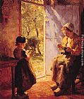 Evert Pieters The Sewing Lesson painting