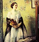 Fernand Toussaint A Young Woman holding a Bouquet of Summer Flowers painting