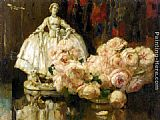 Fernand Toussaint Still Life with Roses painting