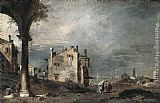 Francesco Guardi Capriccio with Venetian Motifs painting