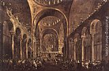 Francesco Guardi Doge Alvise IV Mocenigo Appears to the People in St Mark's Basilica in 1763 painting