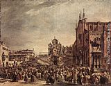 Francesco Guardi Pope Pius VI Blessing the People on Campo Santi Giovanni e Paolo painting