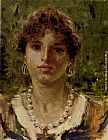 Francesco Paolo Michetti Portrait Of A Girl Wearing A Pearl Necklace painting